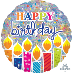 "Jumbo Holographic ""Shimmer Birthday Candles"" Foil Balloon, P45, 81 x 81 cm"