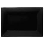3 Platters Black Plastic Rectangular 33 x 23 cm