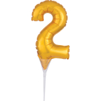 Micro Size Number 2 Gold Foil Balloon A40 Packaged