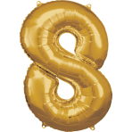 Large Number 8 Gold Foil Balloon N34 Packaged 53 cm x 83 cm