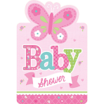 8 Invitations & Envelopes Welcome Little One - Girl 15.8 x 10.8 cm