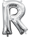 MiniShape Letter R Silver Foil Balloon L16 Packaged 22cm x 33cm