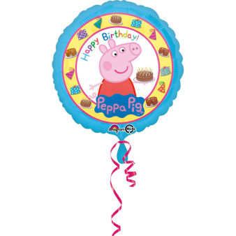 "Standard ""Peppa Pig Happy Birthday"" Foil Balloon round S60 packed 43cm"