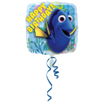 "Standard ""Finding Dory Happy Birthday"" Foil Balloon Square S60 packed, 43 cm"