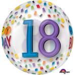 "Orbz ""Happy 18th Birthday Rainbow"" Foil Balloon Clear, G20, packed, 38 x 40cm"