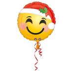 """Standard""""Santa Hat Emoji"""" Foil Ballloon round, S40, packed, 43cm"""