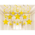 30 Swirl Decorations Shooting Stars Gold Foil 61 cm