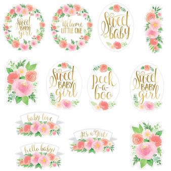 12 Cutouts Floral Baby Paper 27.9 cm / 22.8 cm / 17.7 cm