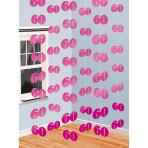 6 String Decorations Pink Shimmer 60 210 cm