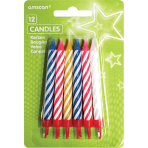 12 Spiral Candles Assorted Height 8.3 cm