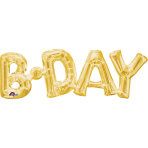 """SuperShape Phrase """"Bday"""" Gold Foil Balloon P35 Packaged 66 x22 cm"""