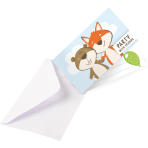 8 Invitations & Envelopes Fox & Beaver Paper 8 x 14 cm