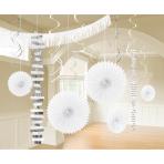 Decoration Kit Frosty White Paper / Foil 18 Parts 274 cm / 213 cm / 20.3 - 55.8 cm