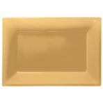3 Platters Gold Plastic Rectangular 33 x 23 cm