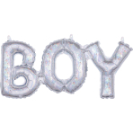 """CI: Phrases Block Phrase Boy Holographic Foil Balloon S55 Packaged 20""""/50cm w x 9""""/22cm h"""