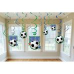 12 Swirl Decorations Championship Soccer Score More Foil / Paper 61 cm