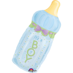 SuperShape Baby Bottle Boy Foil Balloon P30 Packaged