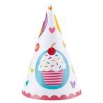 6 Party Cone Hats Cupcake Paper Height 16.2 cm