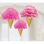 3 Fluffy Decoration Ice Cream Cones Oh So Fabulous 30 cm