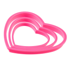 3 Cookie Cutters Hearts Everyday Love Plastic Width 5.5 cm / 7 cm / 9.5 cm