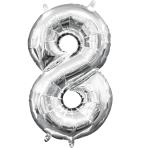 MiniShape Number 8 Silver Foil Balloon L16 Packaged 20cm x 35cm