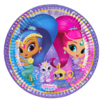 8 Plates Shimmer & Shine Paper Round 22.8 cm
