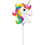 "Mini Shape ""Rainbow Unicorn"" Foil Balloon, A30, airfilled,"