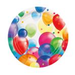 8 Plates Balloons Paper Round 22.8 cm