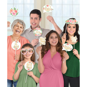 Photo Booth Kit Floral Baby Paper / Plastic 13 Pieces 35.5 x 21.5 cm