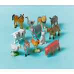 12 Toy Farm Animals Plastic Length 3 - 6 cm