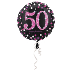 Standard Pink Celebration 50 Foil Balloon, round, S55, packed, 43 cm