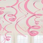 12 Swirl Decorations New Pink Foil 55.8 cm