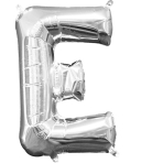 MiniShape Letter E Silver Foil Balloon L16 Packaged 20cm x 33cm