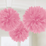 3 Fluffy Decorations New Pink Paper 40.6 cm