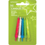 10 Glitter Candles with Holders Assorted