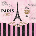 16 Beverage Napkins A Day In Paris 25 cm