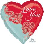 "Standard ""Paisley Love"" Foil Balloon Heart, S40, packed, 43cm"