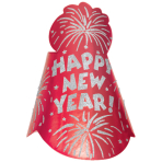 Cone Hat Happy New Year Foil Glitter Red 22 cm