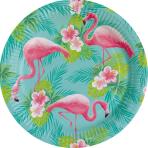 8 Plates Flamingo Paradise Round Papier 23 cm