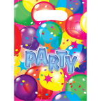 6 Party Bags Balloon Party 2 Plastic 23.4 x 16.2 cm