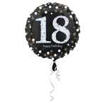Standard Sparkling Birthday 18 Foil Balloon Round S55 Packaged 43 cm