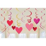 12 Swirl Decorations Valentine's Day Foil / Paper 61 cm