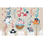12 Swirl Decorations Ahoy Birthday Foil / Paper 61 cm