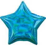 Standard Holographic Iridescent Cyan Star Foil Balloon S55 Bulk