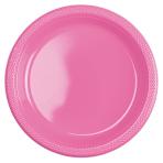 10 Plates Bright Pink Plastic Round 22.8 cm