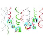 12 Swirl Decorations Joyful Snowman Foil / Paper 61 cm