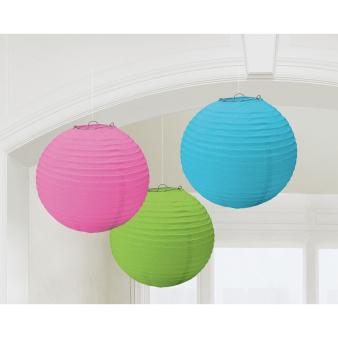3 Lanterns Multicolour Paper 20.4 cm