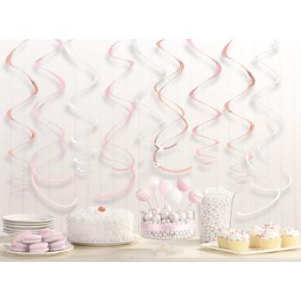 12 Swirl Decorations Rose Gold Blush Foil 55.8 cm