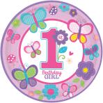 8 Plates Sweet Birthday Girl 23 cm