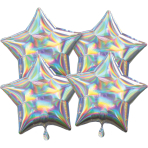Multi-Pack Iridescent 4 Pack Star Silver Foil Balloon P41 packaged